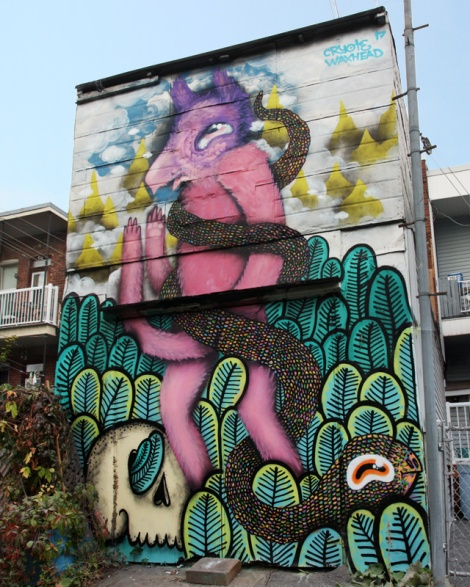 Cryote and Waxhead mural in a Rosemont alley, part of the Gatos Callejeros production