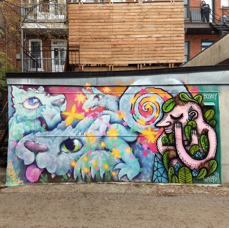 Cryote (left) and Waxhead (right) in a Villeray alley