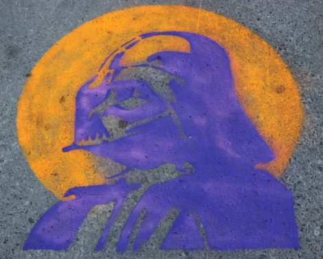 stencil on sidewalk by Graffiti Knight
