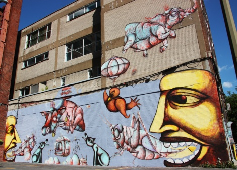 Labrona (dogs and faces) and Gawd (elephant, cow, grasshoppers and objects), Clark street