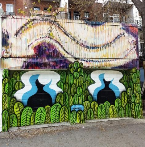 Waxhead on garage doors and Bosny above, in Villeray