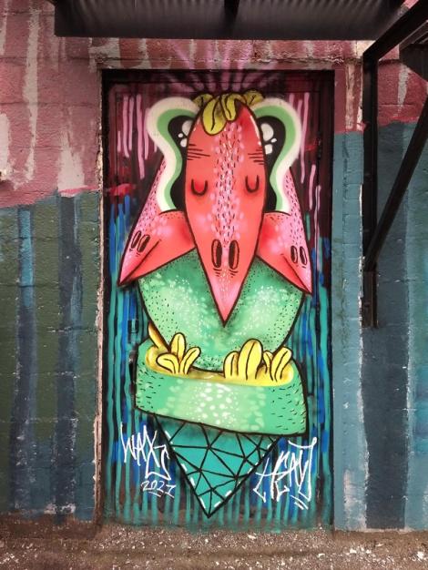 Waxhead on door in Villeray