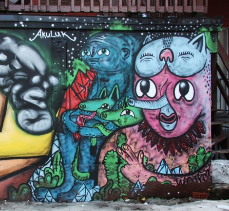 Waxhead mural downtown Montreal