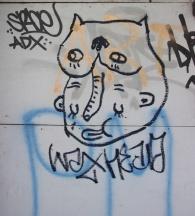 Waxhead drawing in alley behind St-Urbain