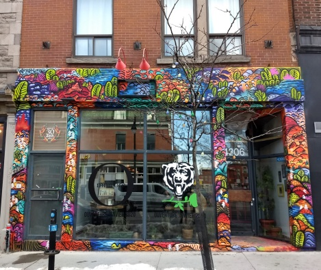 restaurant front by Waxhead, on St-Laurent