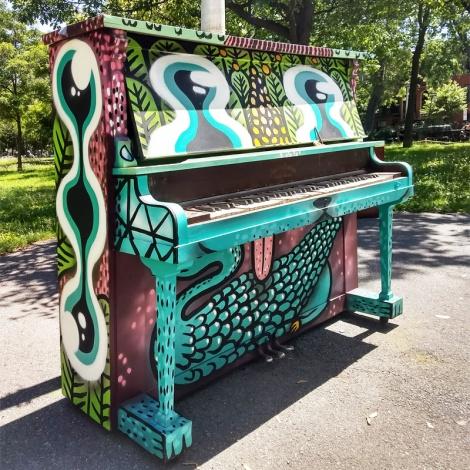Waxhead on public piano, 2018