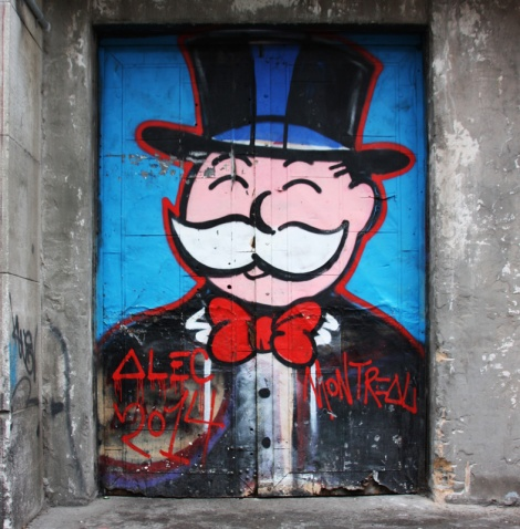 Alec Monopoly on door in the Cité du Multimédia