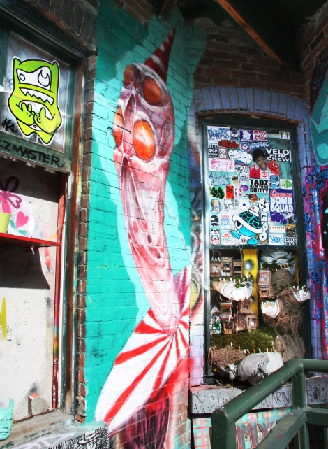 Alex Produkt with paste-up by Citizan (top left) and installation by Alysha Farling for Cabane à sucre secret project August 2014