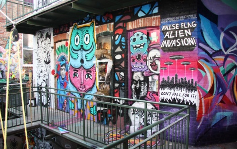 View of northern wall, 2nd floor, Cabane à sucre secret project August 2014: En Masse, Miss Me, Waxhead, Alysha Farling, M.Abstrakt, Oram 79, IAmBatman, Emmanuel Laflamme, Mastrocola