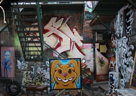 Axe (back wall) and Oram 79 (front), ground floor, Cabane à sucre secret project August 2014