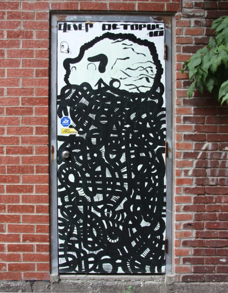 Clever Octopus piece on Rosemont door