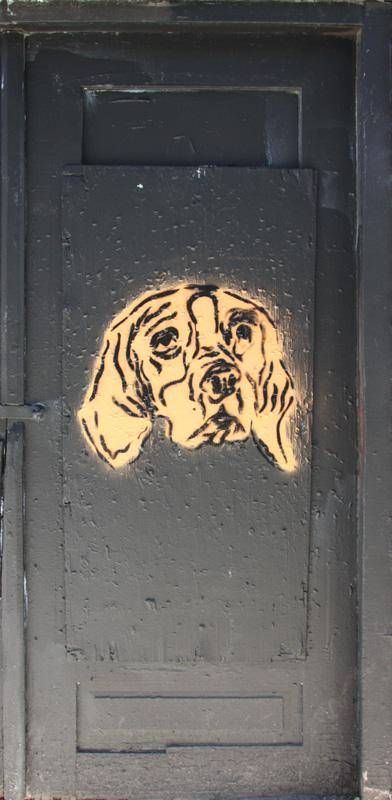 stencil by unidentified artist on Duluth door