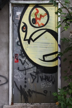 piece by unidentified artist on door