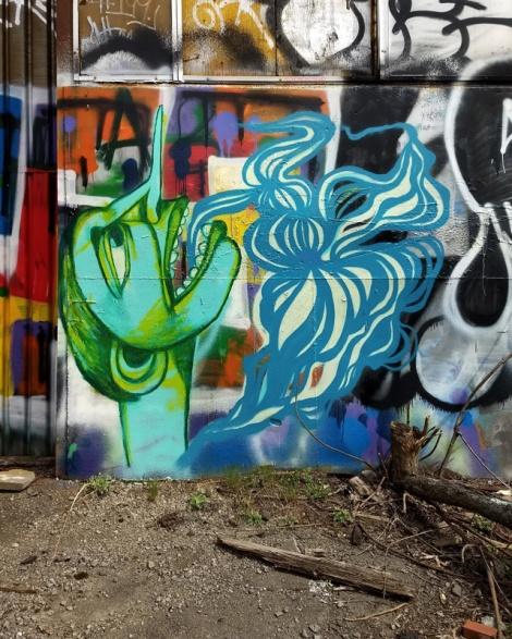 Labrona (green) and M'Os Geez (blue) at a derelict spot in Hochelaga
