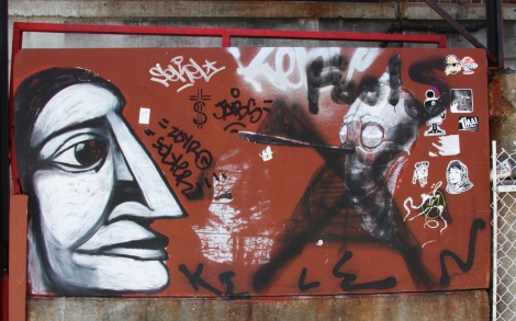 Labrona (left) and Produkt (right vandalised) plus stickers by 123Klan, Futur Lasor Now, Zola, etc.