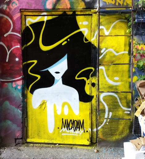 Macadam Monkey on door in a graffiti alley