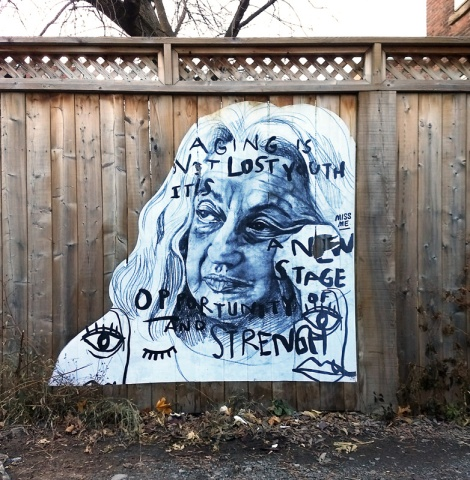 wheatpaste of Betty Friedan by Miss Me