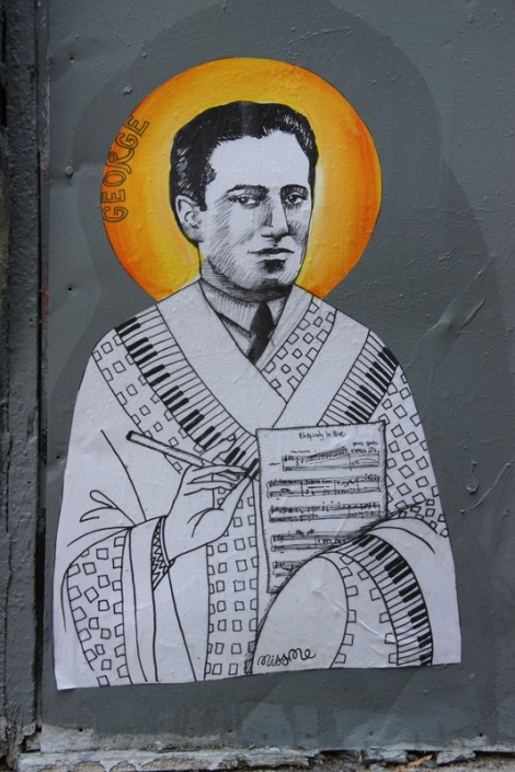 Miss Me wheatpaste of George Gershwin