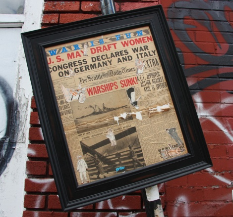 unknown artist, framed newspaper cutting with stickers, Marie-Anne circa St-Laurent