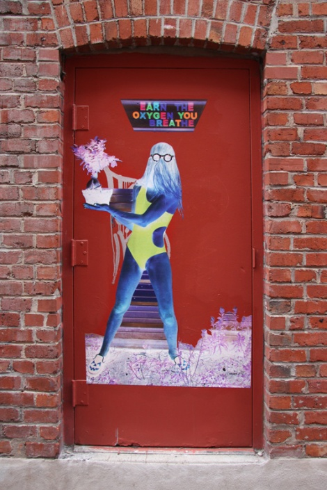 Cousin It wheatpaste on door