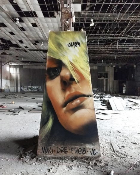 Omen in an abandoned warehouse