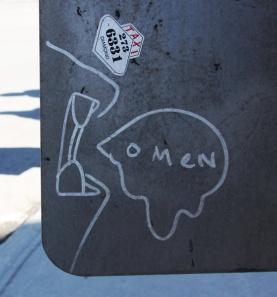 Omen on traffic sign