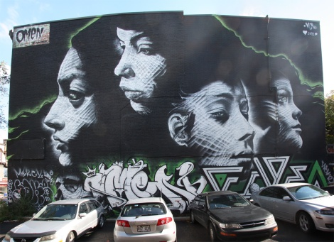 Omen mural for the 2013 edition of the Mural Festival, features Five Eight in bottom right corner