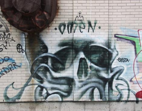 Omen mural in alley behind Henri-Julien
