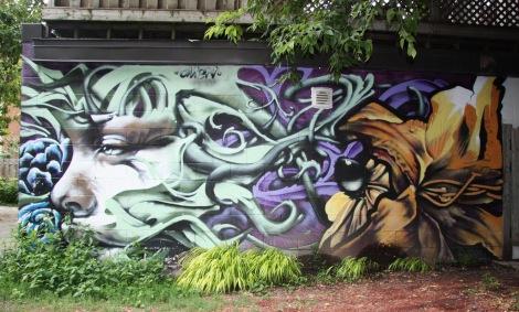 Omen mural in alley behind Mentana