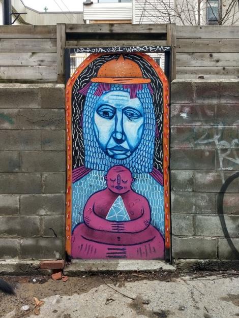 Waxhead and Labrona on a Mile End door