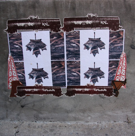 Political wheatpaste montage by Swarm for Decolonizing Street Art