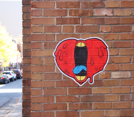 Tava paste-up of screaming heart in Chinatown
