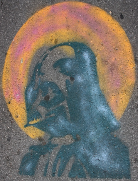 stencil on sidewalk by Graffiti Knight guarding entrance of St-Denis|Drolet alley between Duluth and Roy