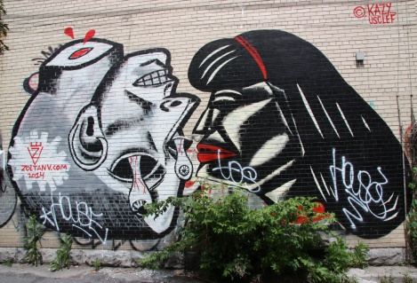 Zoltan V and Kazy Usclef mural in St-Denis Drolet alley between Duluth and Roy