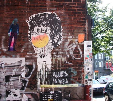 Stikki Peaches wheatpaste with chimpanzee by Graffiti Knight