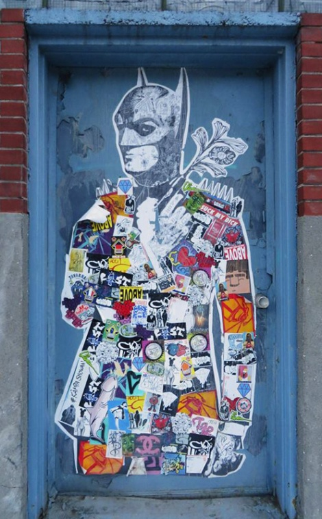 Stikki Peaches wheatpaste covered with stickers by other artists