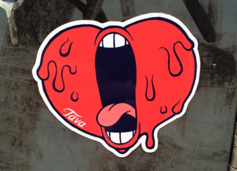 Tava's screaming heart sticker