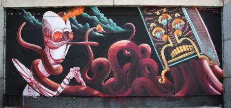 Under Pressure Festival zone 2014 - 180 Ste-Catherine - art by Produkt (left) and Tyler K Raumen (right)