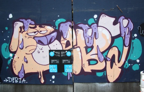 Under Pressure Festival zone 2014 - Debza on boarded wall
