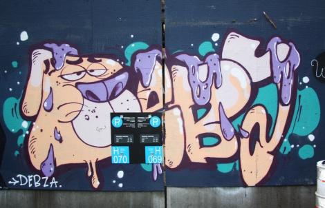 Under Pressure Festival zone 2014 - Debza on boarded wall