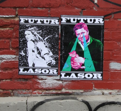 Futur Lasor Now wheatpastes