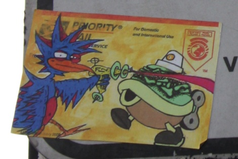 Shared sticker featuring Futur Lasor Now (left) and Turtle Caps (right)