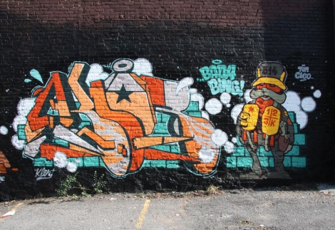 graffiti mural by 123Klan on Clark between Ontario and Sherbrooke