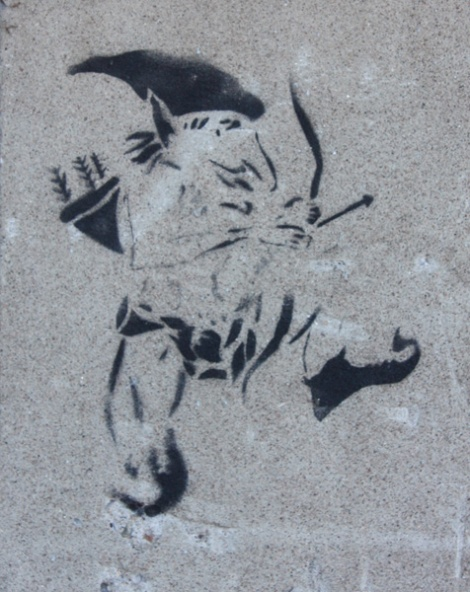 stencil by unidentified artist on Arsenal in Griffintown
