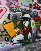 IAmBatman on legal graffiti wall of underpass on de Rouen