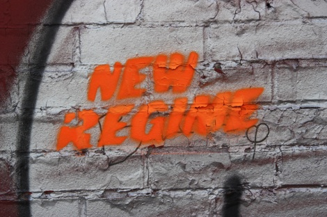 New Regime stencil, many locations and colours