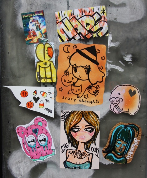 Stickers by Stela (centre, bottom), Homsik (right), Naps (top centre), Futur Lasor Now (top left) and friends