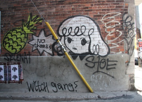 Stela (right) and Selena Gomez (left) representing the Witch Gang, in alley off St-Viateur (bottom left corner wheatpaste is by Swarm for Decolonizing Street Art)