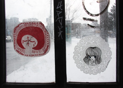 Paste-ups by Swarm (left) and Stela (right)