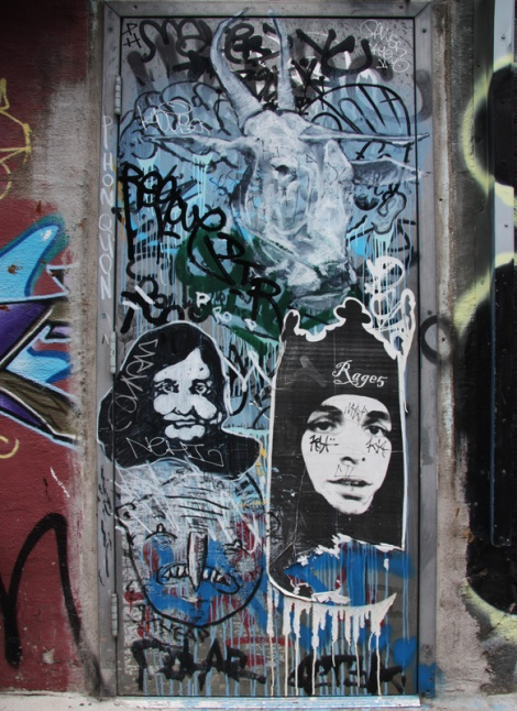 Produkt (top), Rage5 (right wheatpaste), unidentified artist (left wheatpaste) and a Waxhead drawing (bottom left)